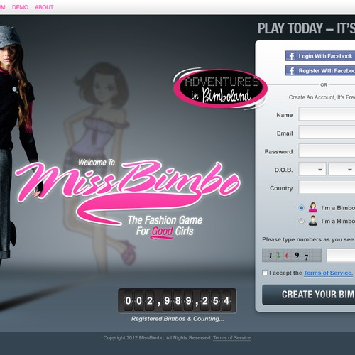 Miss Bimbo com - edgy cool design wanted!   Web page design