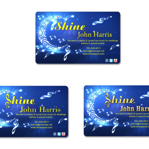 Shine biz card for fun wedding band business card contest for Band business card ideas