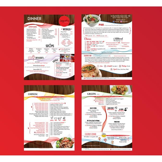 Modern Chinese-Vietnamese Restaurant Menu   Menu contest