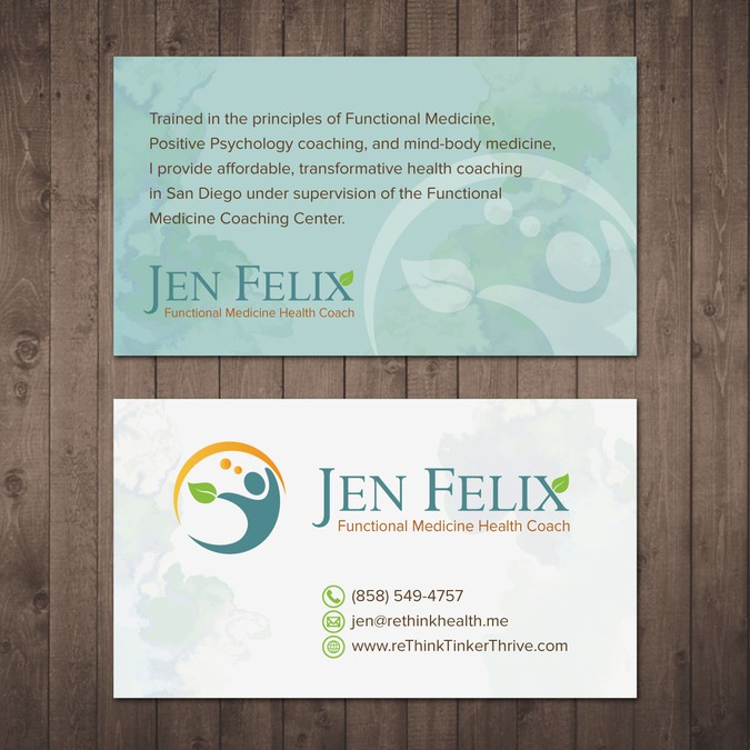 Seeking your amazing talent to help me get started for Health coach business card ideas