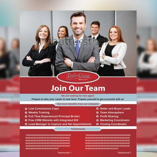 1 page recruiting flyer for growing real estate company postcard