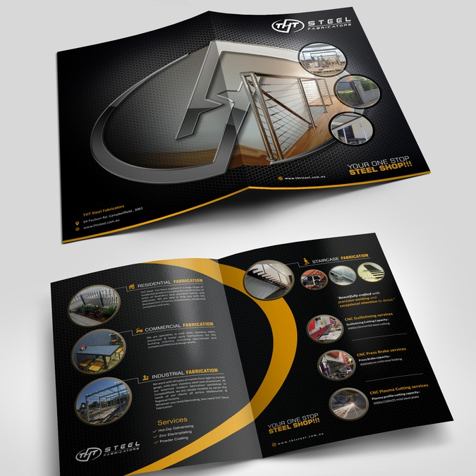 Elegant Modern Contemporary Brochure For Tht Steel Fabricators