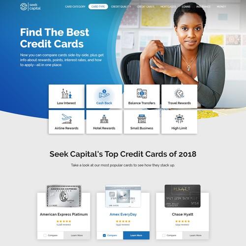 Credit Card Comparison Homepage Design Web Page Design Contest 99designs