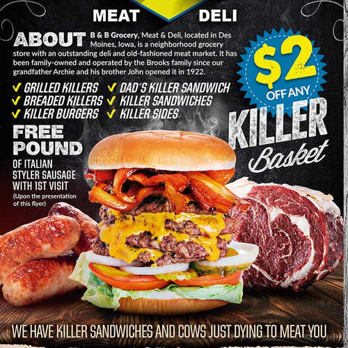 Promotional Flyer for the coolest fucking Deli in Des Moines, Iowa Ontwerp door Joabe Alves