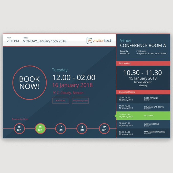 Design a room booking screen other web or app design contest for Room design web app