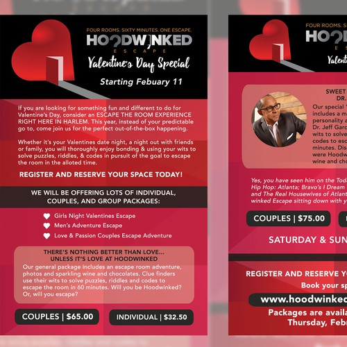 Create a captivating Valentine's Day Flyer for Hoodwinked Escape Diseño de Mikesclusive