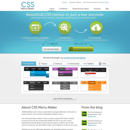 website design for CSS Menu Maker | Web page design contest