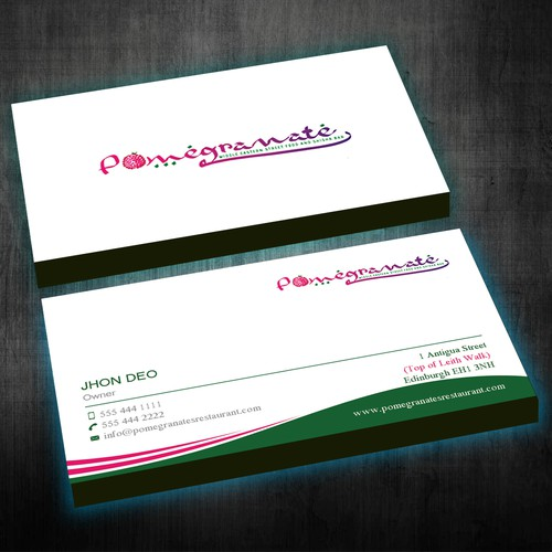 new business card for pomegranate restaurant business card contest