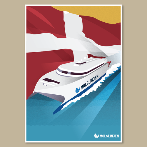 Multiple Winners - Classic and Classy Vintage Posters National Danish Ferry Company Design by aputski