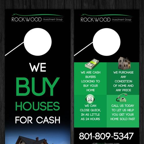 Design a custom door hanger to advertise cash buyer for