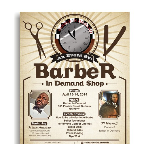 Create an exciting flyer for vintage barber shop Design by yes i'm female
