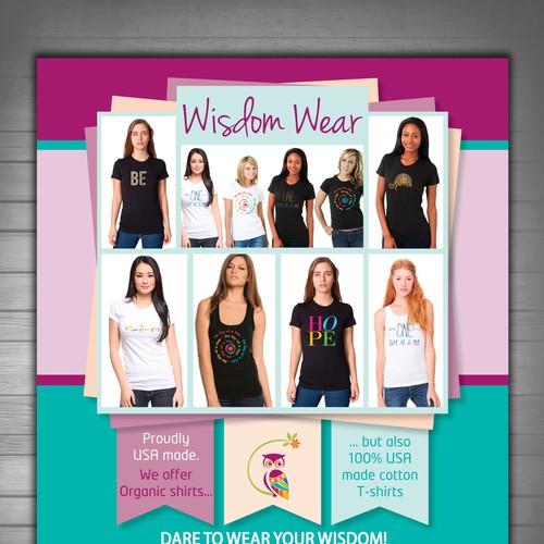 Wisdom wear t shirt flyer postcard flyer or print contest for T shirt design contest flyer