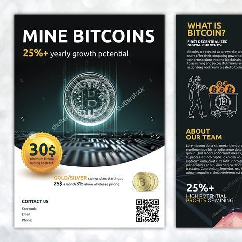Bitcoinbitcoin mininggoldsilver postcard flyer or print contest runner up design by silviajordanova ccuart Image collections