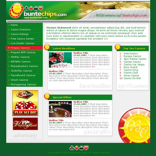 Template Plus Logo For German Online Gambling Site Web Page Design Coded Contest 99designs