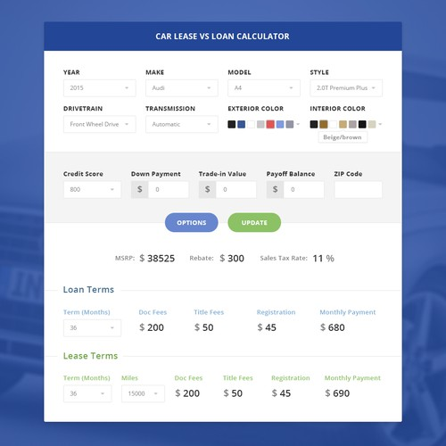 Create A Car Lease Vs Loan Calculator Web Page Design Contest