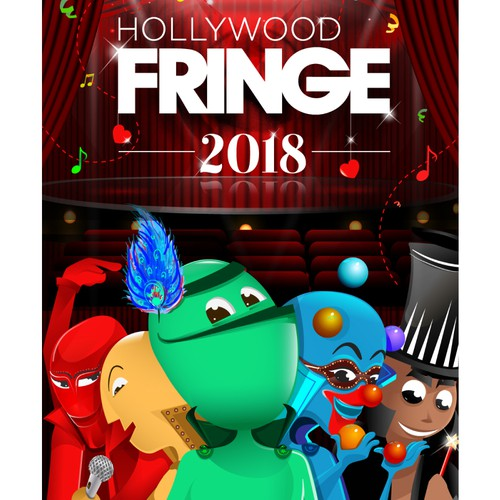 Guide Cover for the 2018 Hollywood Fringe Festival Design by Dezintrend1
