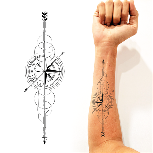 Design Geometric Arrow Compass Tattoo Tattoo Contest 99designs