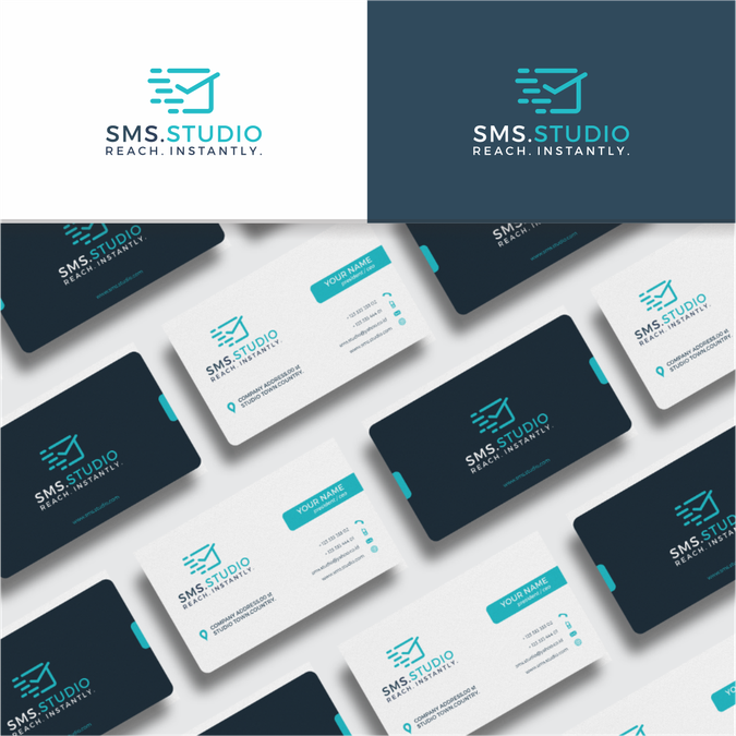 Logo and business card for a cutting edge sms marketing platform winning design by suryoart colourmoves