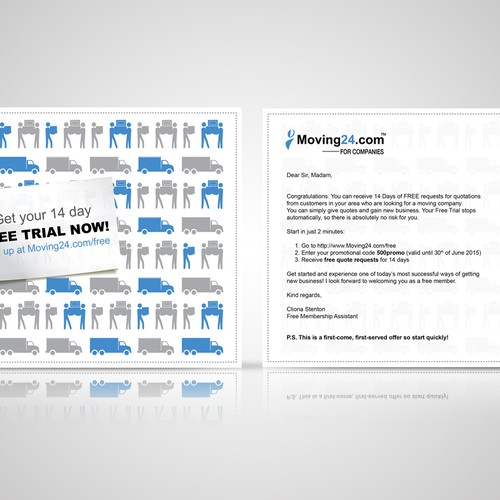 Design a direct mail letter with voucher postcard for for Direct from the designers
