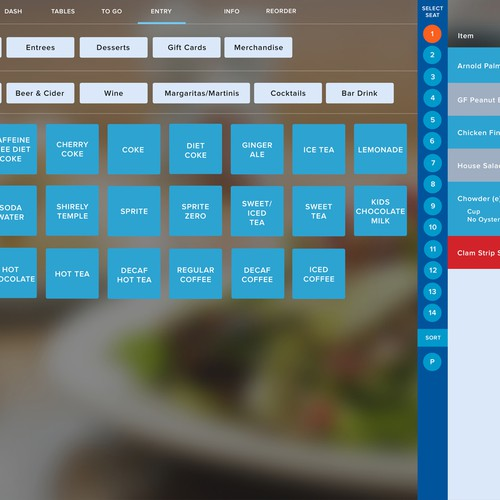 Redesigning a new user interface for restaurant point of