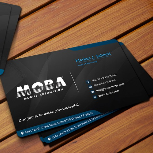 Visitenkarte fr moba mobile automation business card contest runner up design by ahsan taz colourmoves