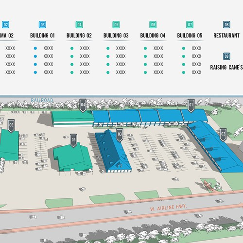 Graphic Site Map: Design A Commercial Property Site Plan Map & With Editable Key.