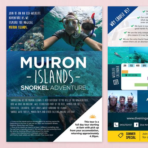 Design an eye catching flyer for snorkel tours on the Ningaloo Reef! Ontwerp door Edbertjunior