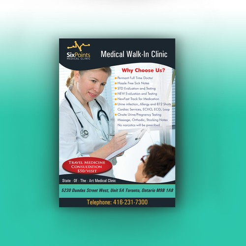 Travellers Health Clinic: Help Medical Walk-In Clinic With A New Postcard Or Flyer