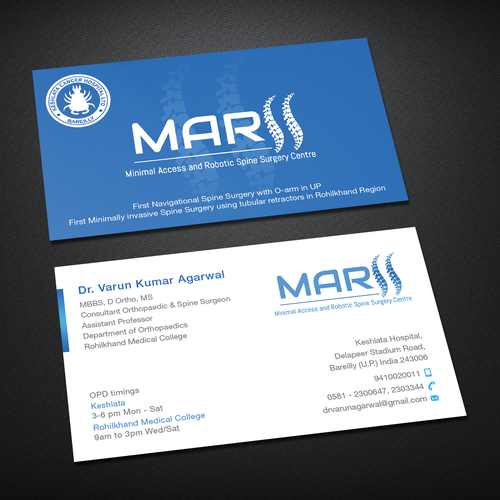 Design a visiting card for spine surgeon business card contest runner up design by deviant dark colourmoves