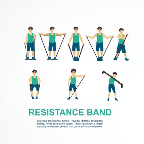 Create A Cartoon Like Resistance Band Exercise Instruction