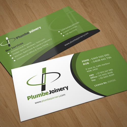 Business card letterhead for plumbe joinery concurso papelaria design finalista por kendhie reheart Images
