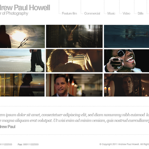Andrew Paul Howell Director Of Photography Needs A New Website Design Web Page Design Contest 99designs
