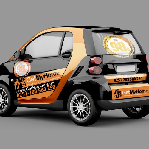 Black Smart Car Wrap For Innovative Real Estate Company