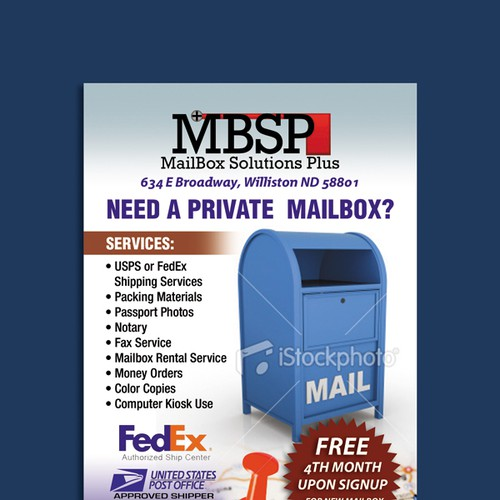 New postcard or flyer wanted for Mailbox Solutions Plus