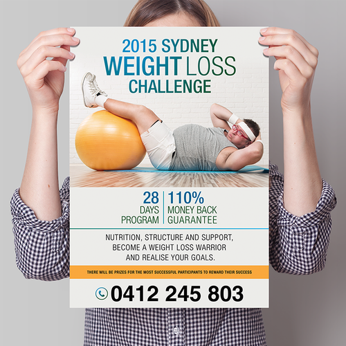 create an engaging poster for a weight loss challenge postcard