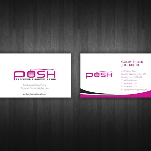 New business card wanted for posh pefumes cosmetics inc runner up design by rgorg reheart Images