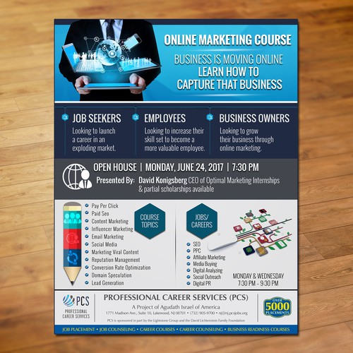 flyer for pcs online marketing course はがき チラシ 各種印刷物コンペ