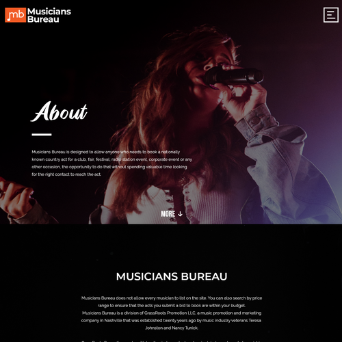 Design an amazing musicians showcase site for booking bands