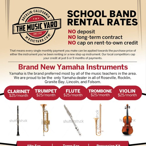 Design 1-Page Pricing Flyer For My School Band Rental