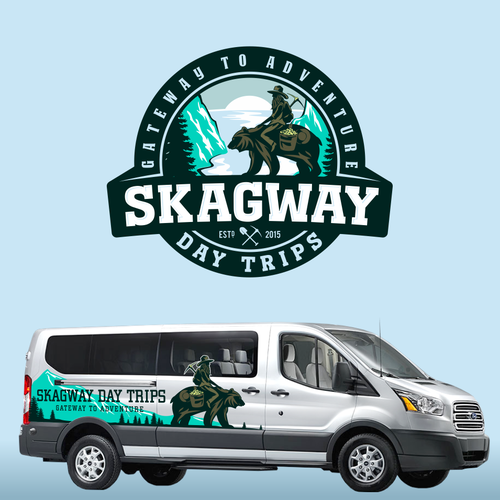 Create a stunning logo for the side of our alaskan tour vans