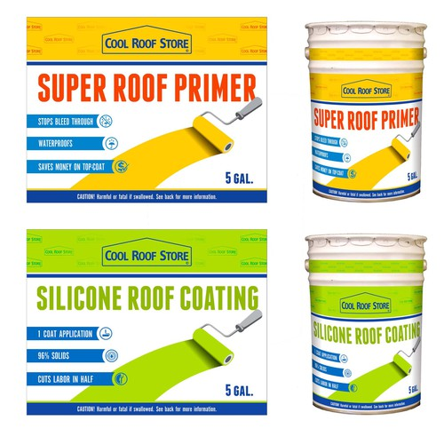 Create a pair of labels for a superior roof coating system