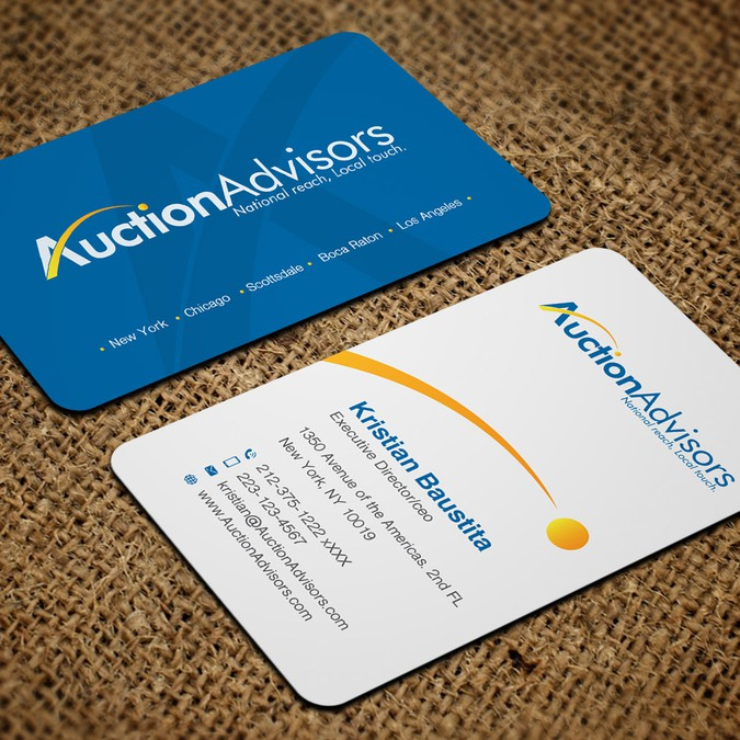 Business card design needed for auction company business card contest winning design by artomorosigns reheart