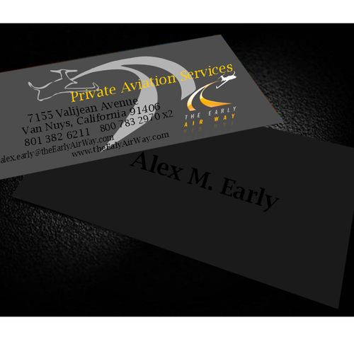Business card for private jet charter company business card contest runner up design by dreamlifeofanangel reheart Choice Image