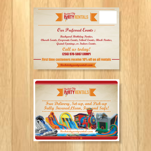 Create a stunningly vintage post card for Rocket City Party Rentals Design by mukiddy