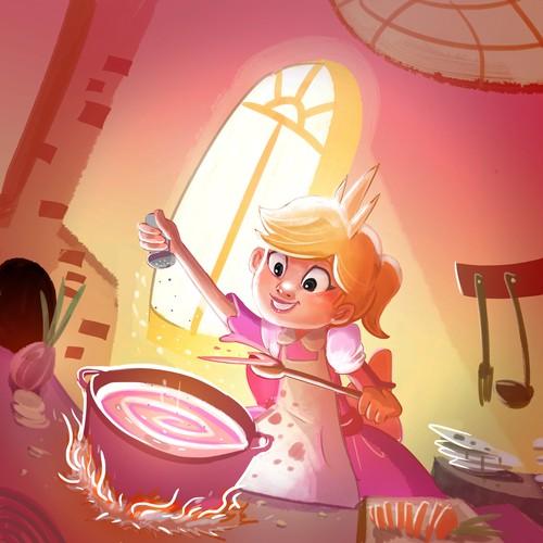 """Princess Soup"" children's book cover design Design by nasgort"