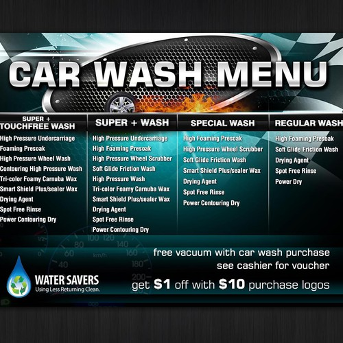 Create A Menu Sign For My New Car Wash.