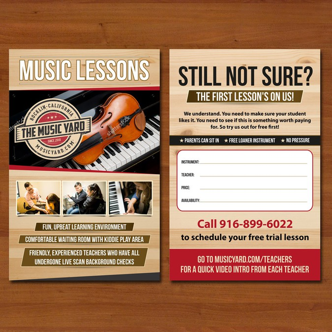 Design 1/2 Page Flyer For Our Music Lessons Program