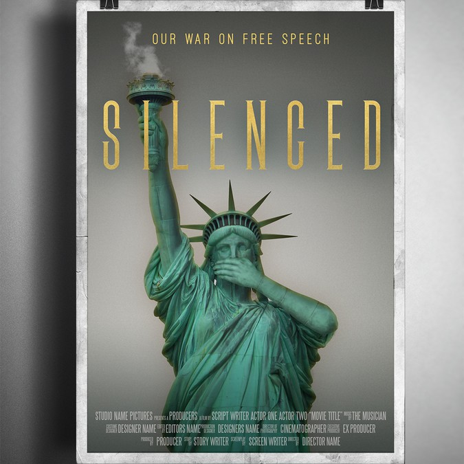 free speech is under attack in america create a movie poster for