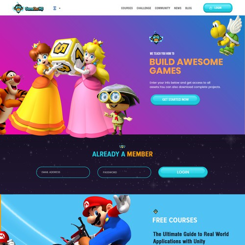 Complete Website Design for Video Game Training Company | Web page