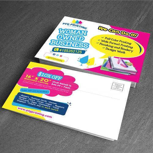 Print Shop Needs Eyecatching Direct Mail Postcard! Postcard